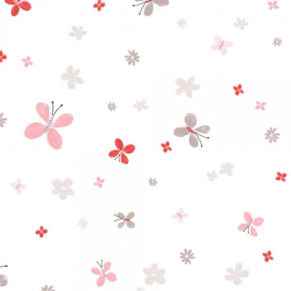 Casadeco Stoff Schmetterling rot Jules & Julie