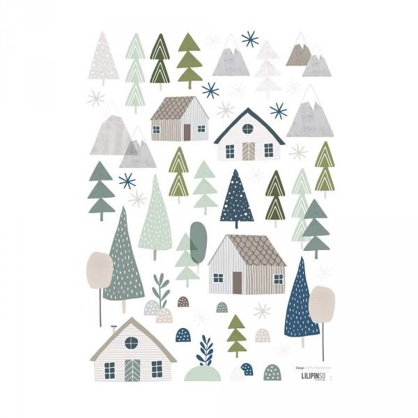 Lilipinso Wandsticker A3 Häuser und Bäume grau grün