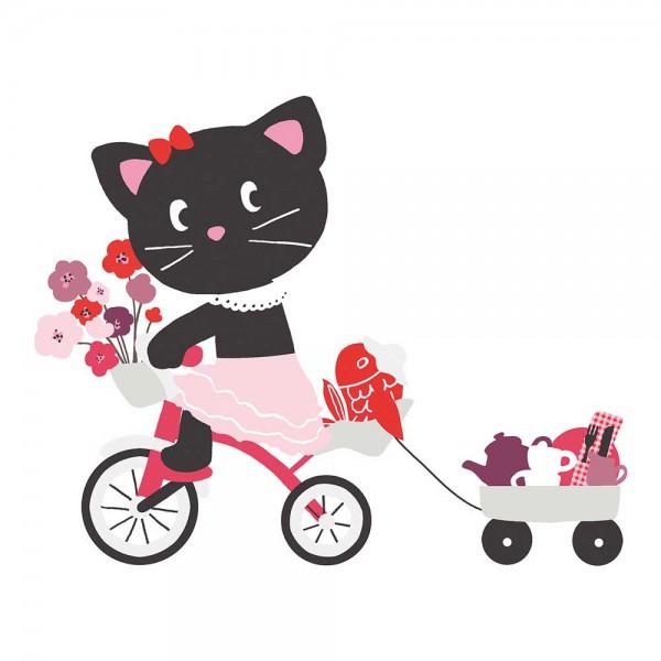 Lilipinso Wandsticker XL Katzenmädchen mit Fahrrad