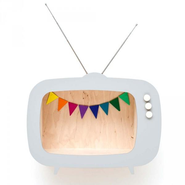 Up Warsaw Wandregal TV Fernseher Tiwi grau