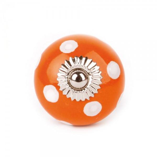 Knaufmanufaktur Möbelknopf Keramik orange Punkte weiss