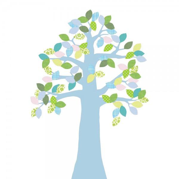 Inke Tapetenbaum 2 Stamm hellblau Blätter grün blau rosa