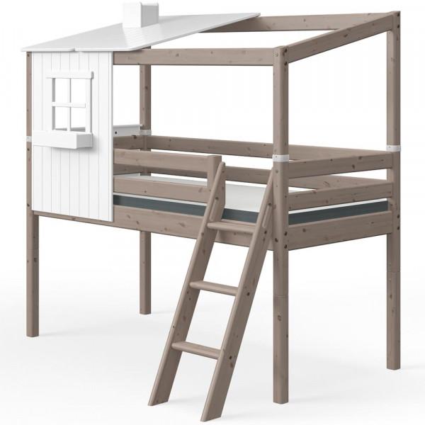 Flexa halbhohes Bett Haus mit halbem Dach weiss braun