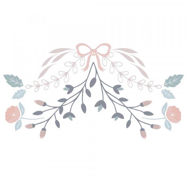 Lilipinso Wandsticker L Blumenornament rosa taupe grau