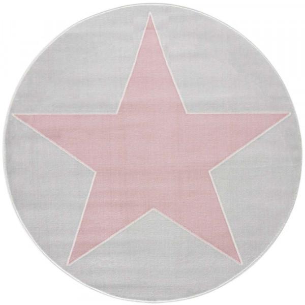 Livone Teppich Stern rosa auf grau rund