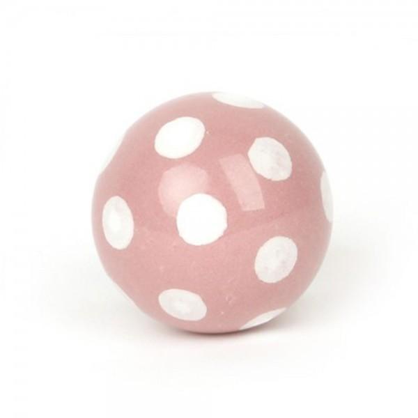 Knaufmanufaktur Möbelknauf Ball Keramik rosa Punkte weiss