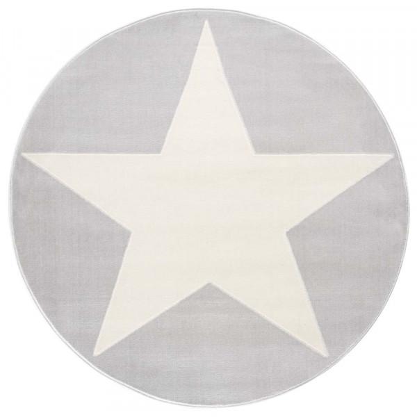 Livone Teppich Stern weiss auf grau rund