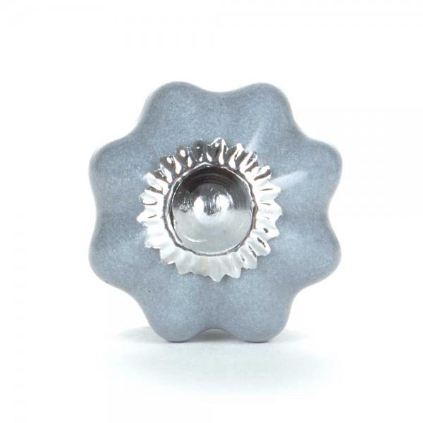 Knaufmanufaktur Möbelknopf Blume uni grau