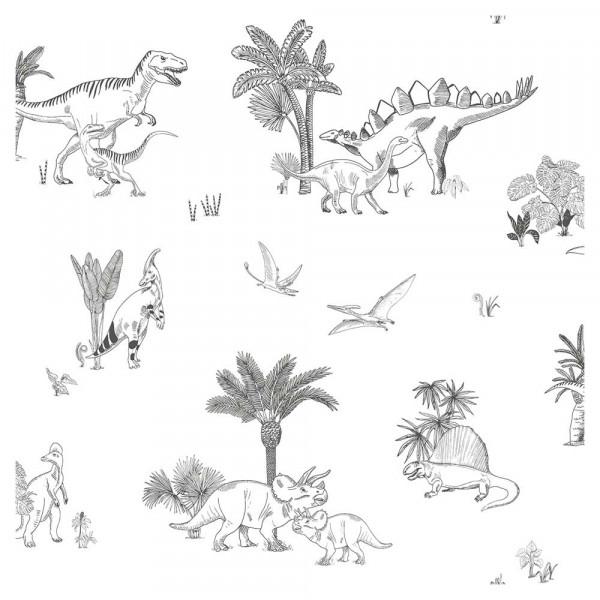 Lilipinso Vlies Tapete Dinosaurier und Palmen grau