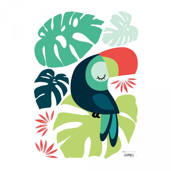 Lilipinso Wandsticker A3 Tukan und Blätter grün schwarz rot