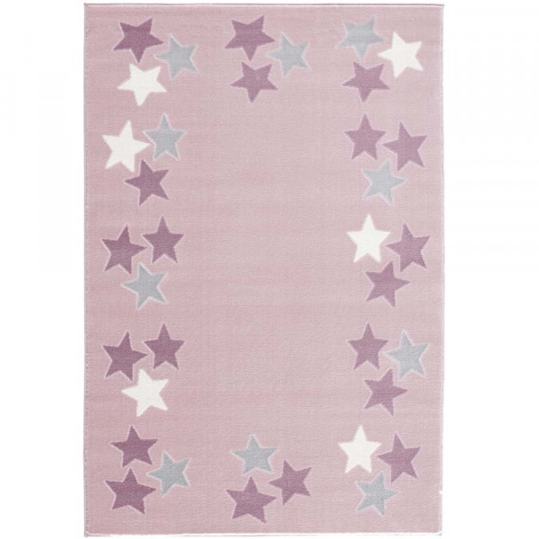 Livone Teppich Sternenband rosa grau