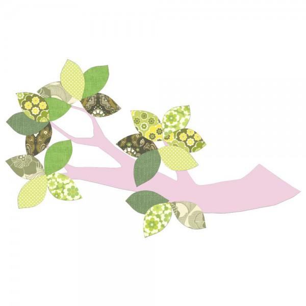 Inke Tapetenast rosa Blätter grün