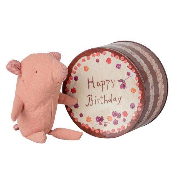 Maileg Stofftier Schwein in Geburtstagstorte mini