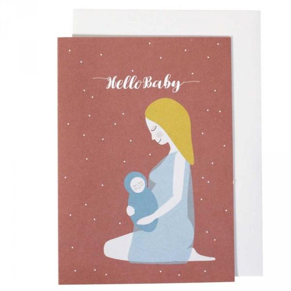 Ava & Yves Glückwunsch Karte zur Geburt Mama mit Kind