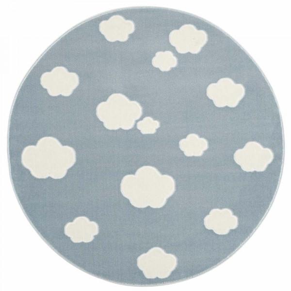 Livone Teppich rund Wolken blau