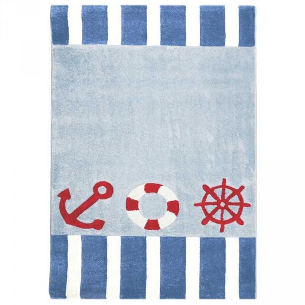 Livone Kinderteppich Seefahrer blau rot weiss