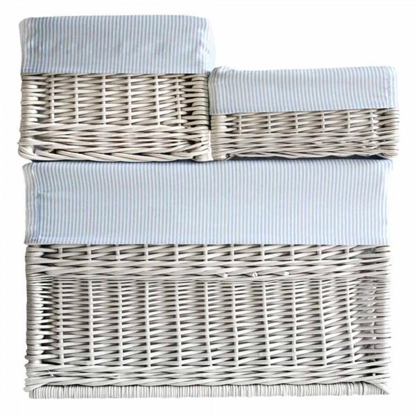 Caramella Weidenkörbchen Futter blau gestreift