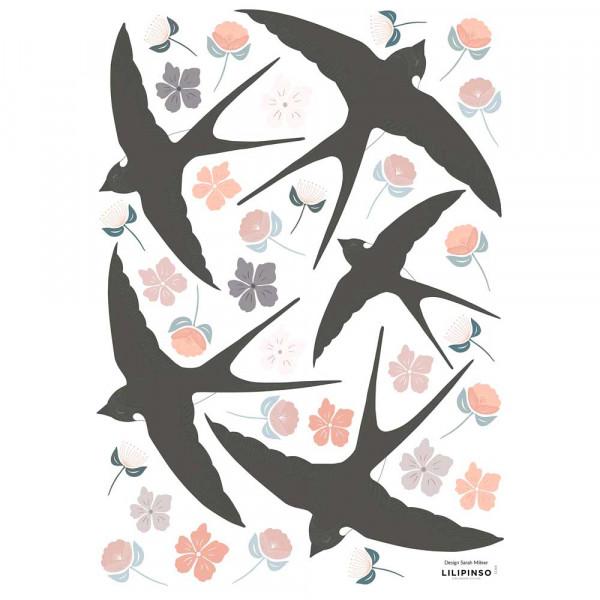 Lilipinso Wandsticker A3 Schwalben und Blüten schwarz rosa