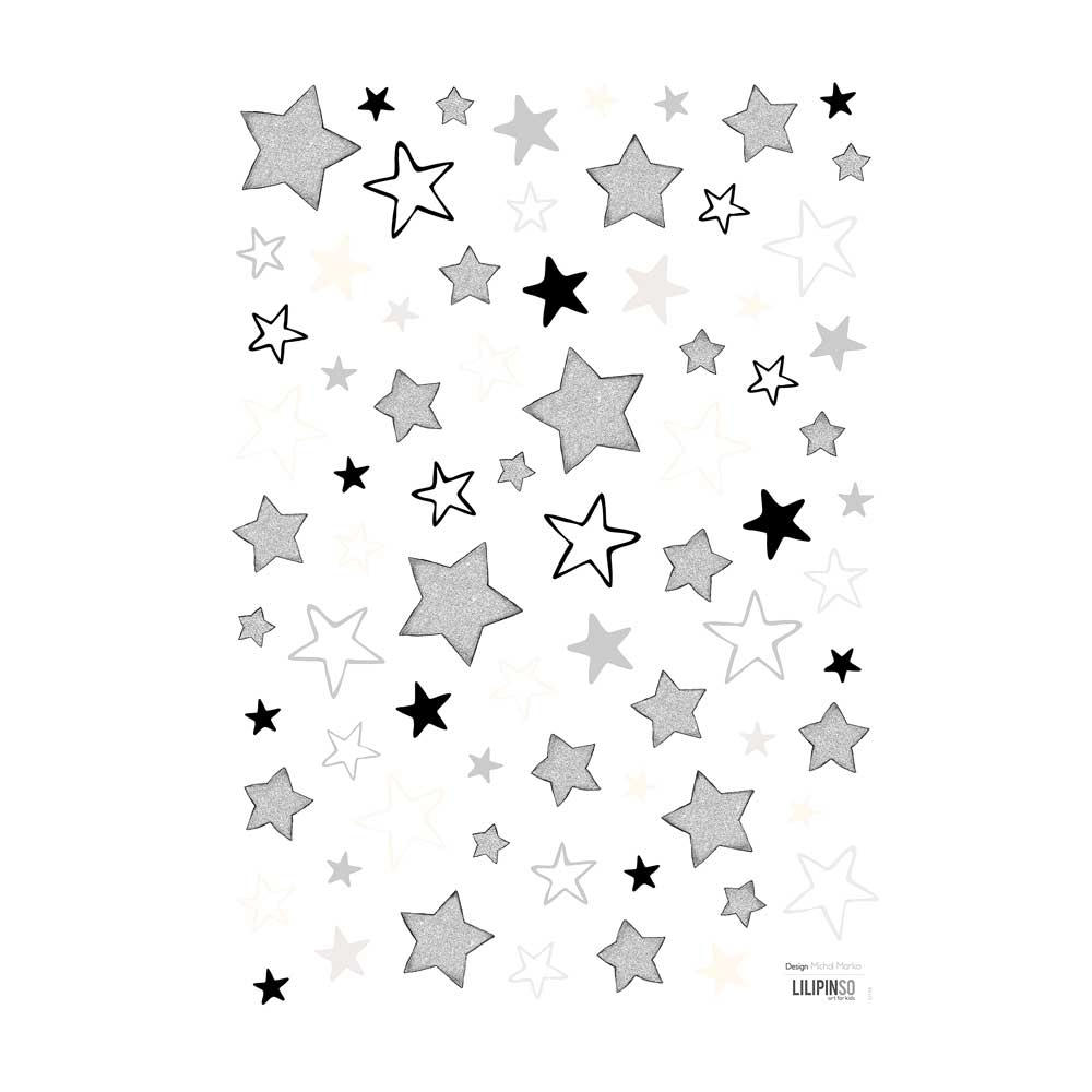 Lilipinso wandsticker a3 gemischte sterne grau schwarz - Wandsticker sterne ...