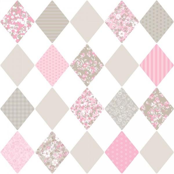 Caselio Pretty Lili Tapete Rauten & Blumen rosa pink grau