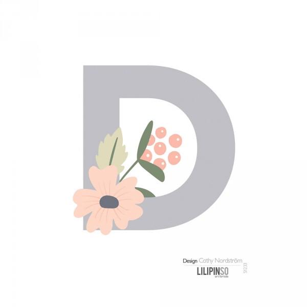Lilipinso Sticker Buchstabe mit Blüten grau rosa pastell D