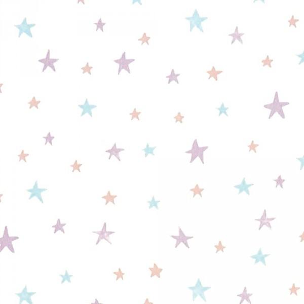Casadeco Alice & Paul Tapete Sternchen lila grau hellblau