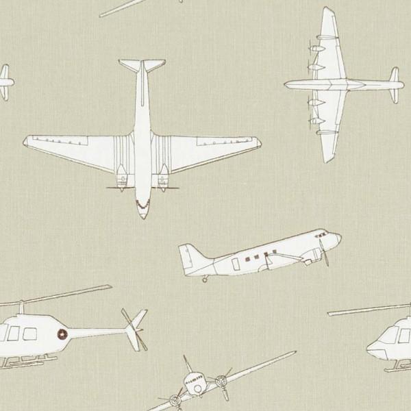 Harlequin all about me bestickter Stoff Flugzeuge grau