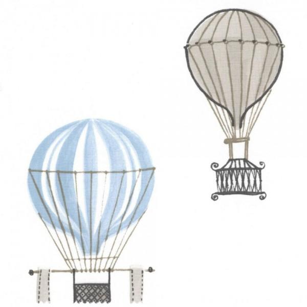 Casadeco Stoff Heissluftballons blau grau Jules & Julie