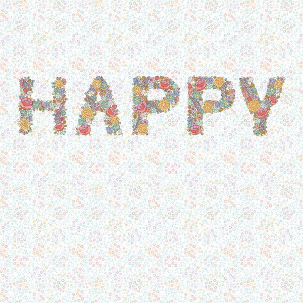 Rice Wandbild Happy mit Blümchen