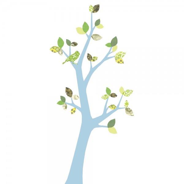 Inke Tapetenbaum 3 Stamm hellblau Blätter grün