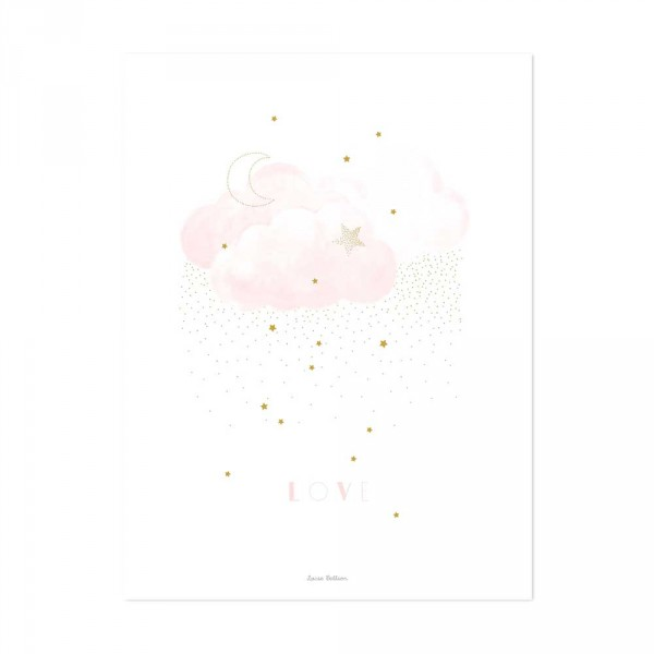 Lilipinso Poster Wolken LOVE rosa