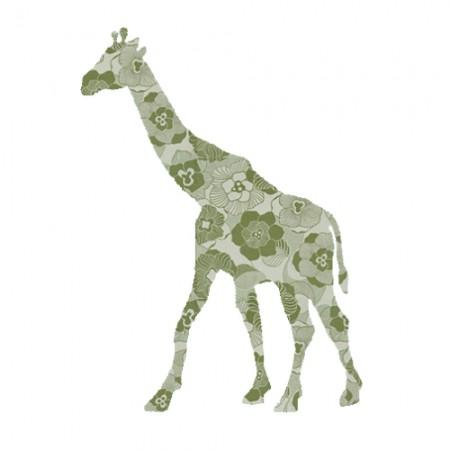Inke Tapetentier Giraffe Ranke oliv