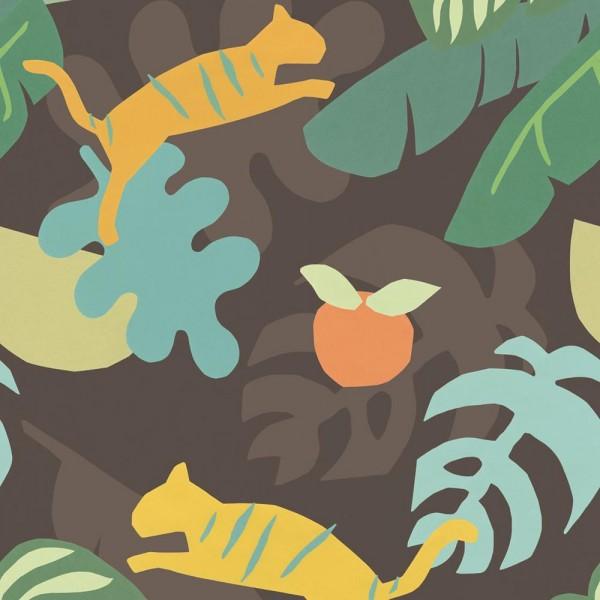 Eijffinger Wandbild Tiger im Dschungel braun grün
