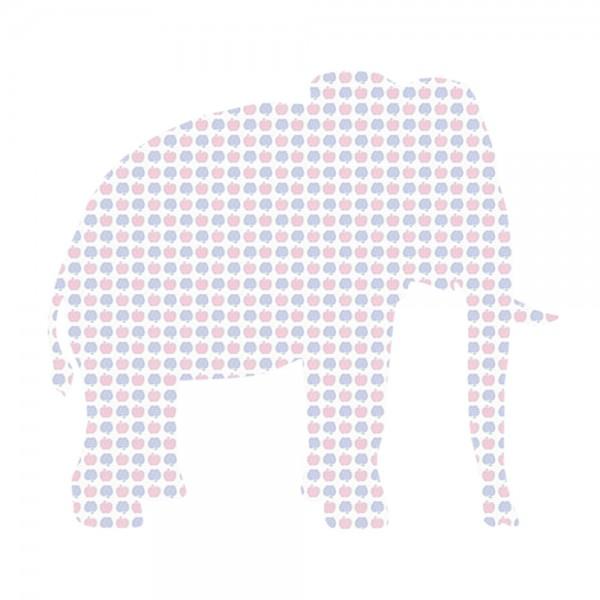 Inke Tapetentier Elefant Apfelmuster blau rosa