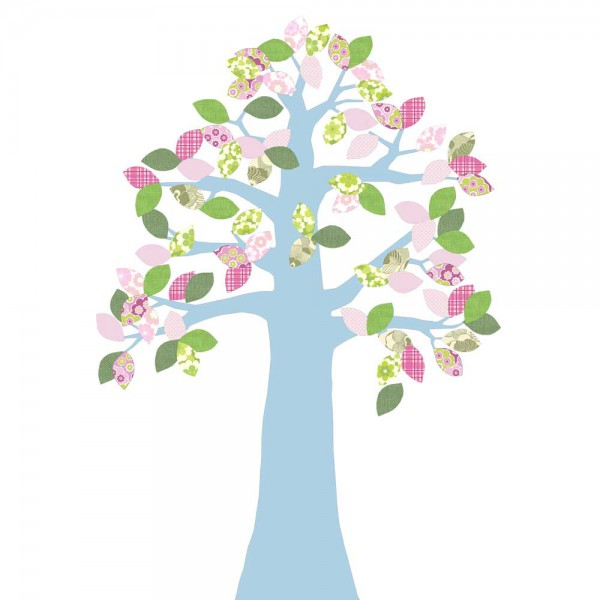 Inke Tapetenbaum 2 Stamm hellblau Blätter rosa grün