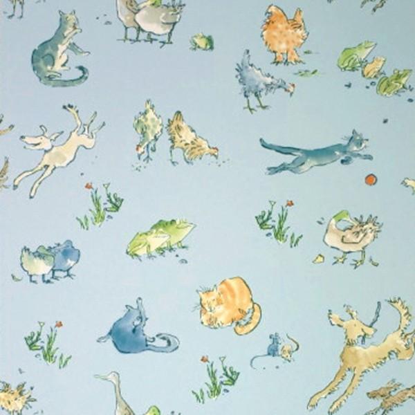 Osborne & Little Tapete Tiere blau