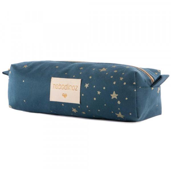 Nobodinoz Stiftemäppchen goldene Sterne blau
