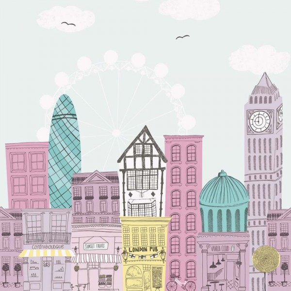 Casadeco Alice & Paul Panoramatapete Häuser flieder rosa türkis