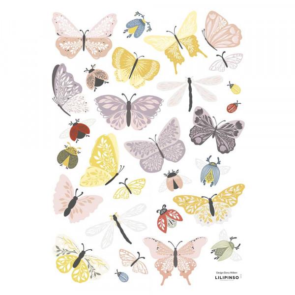 Lilipinso Wandsticker A3 Schmetterlinge & Freunde pastell rot