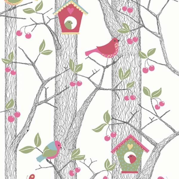 Boras Tapeter Kindertapete Kirschbaum rot grün