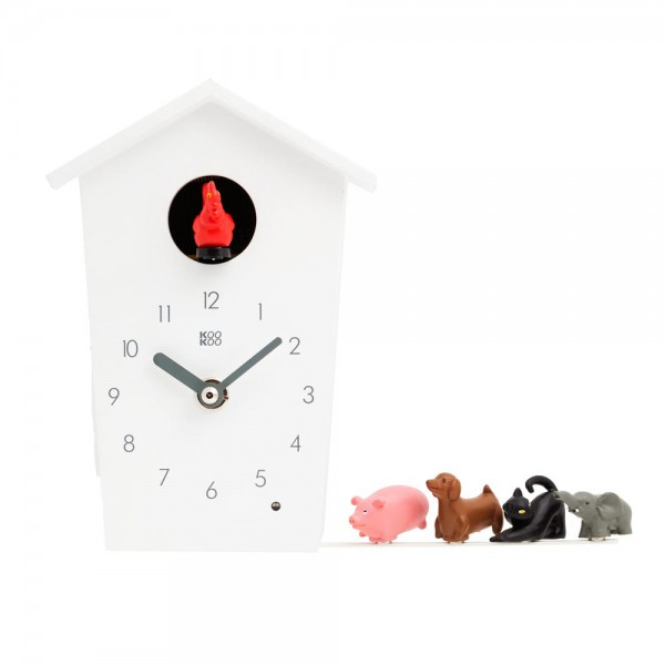 Kookoo Kinderuhr Animal House weiss