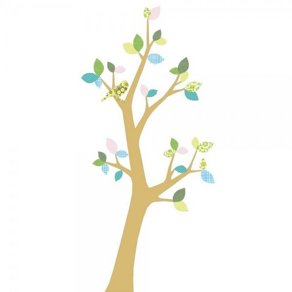 Inke Tapetenbaum 3 Stamm gold Blätter blau rosa grün