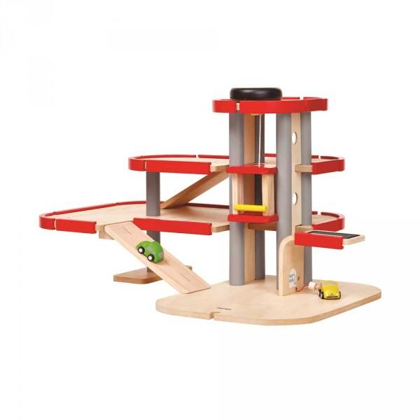 Plan Toys Parkhaus Stromtankstelle Holz