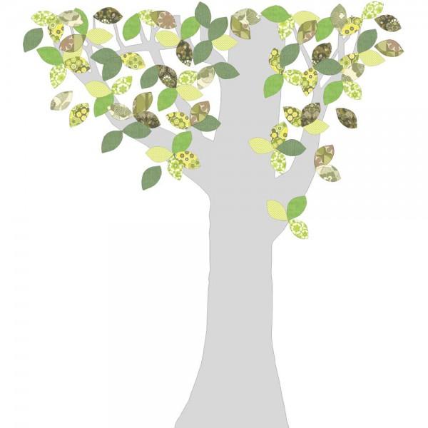 Inke Tapetenbaum 1 Stamm silber Blätter grün