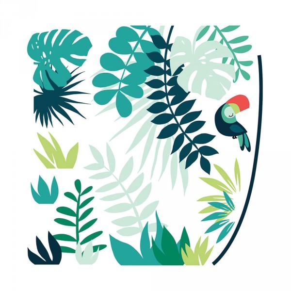 Lilipinso Wandsticker XL Dschungel mit Tukan grün rot