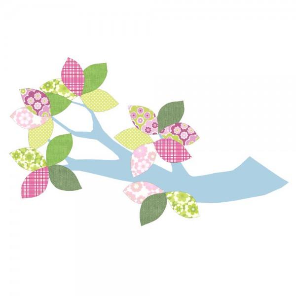 Inke Tapetenast hellblau Blätter grün rosa