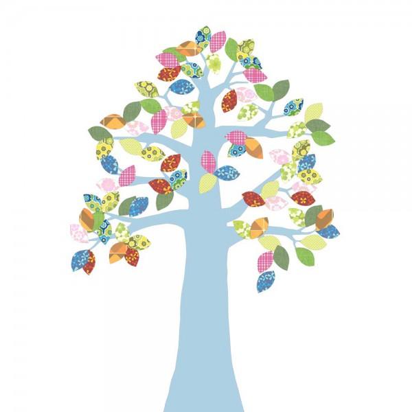 Inke Tapetenbaum 2 Stamm hellblau Blätter bunt