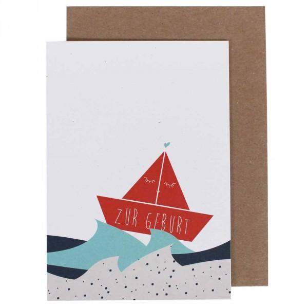 Ava & Yves Glückwunsch Karte zur Geburt Schiffchen
