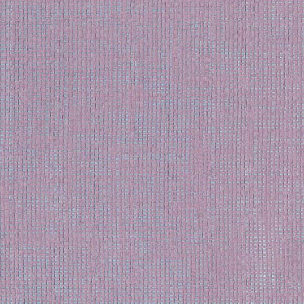 Rice Tapete hellblau metallic mit Raffiabast in flieder