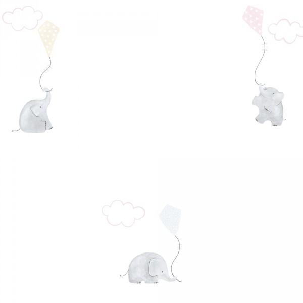 Casadeco My Little World Tapete Elefanten braun grau rosa
